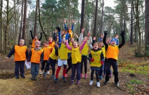 cross country group in woods